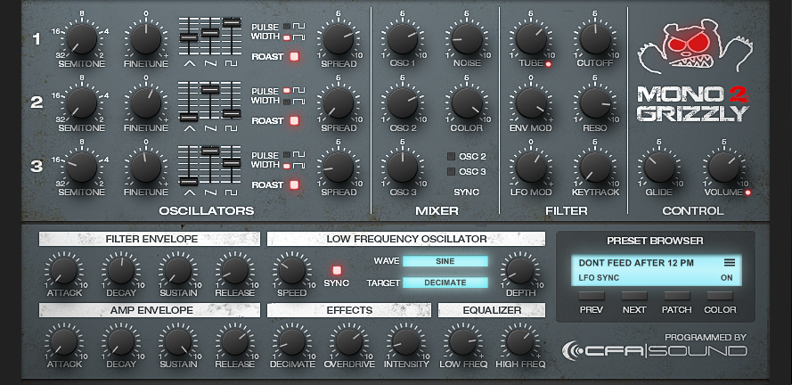 CFA-Sound MonoGrizzly 2 - Bass-Synthesizer Plug-in