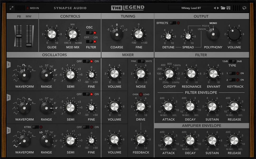 Synapse Audio The Legend: The Legend mimt die Legende nach und präsentiert sich als astreiner Minimoog-Klon.
