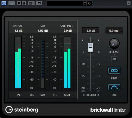 Brickwall Limiter in Steinberg Cubase Pro 9