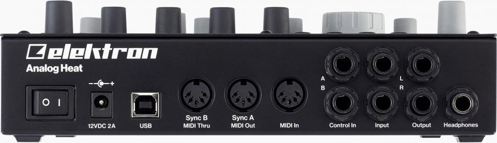 Die Rückseite lässt keine Wünsche offen. Über USB werden MIDI und Audio übertragen, das MIDI-Trio versteht auch DIN-Sync24/48 und zwei Steuereingänge verarbeiten analoge CV-Signale.