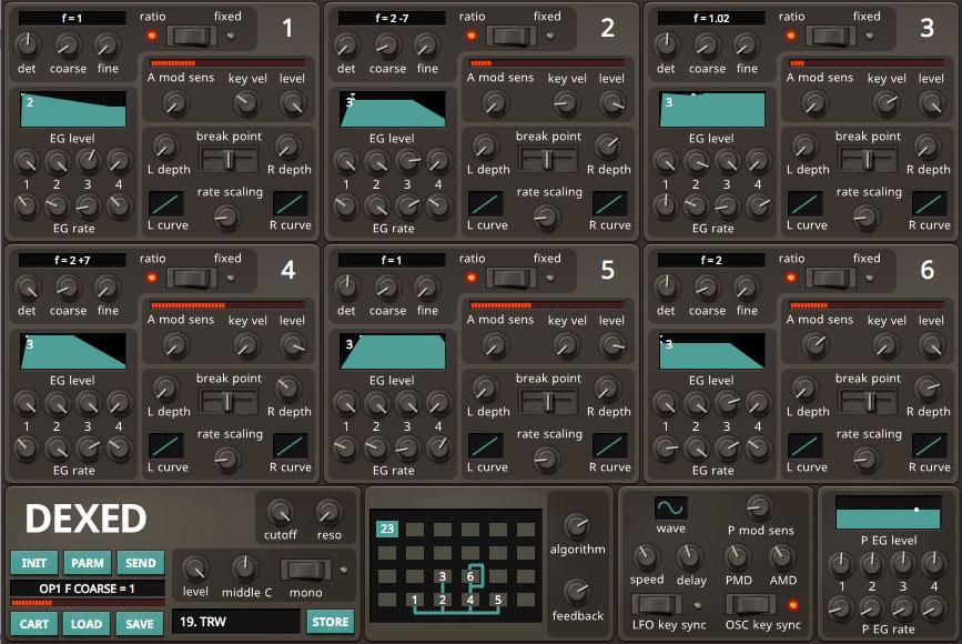 Mit Hilfe von DX7-Editoren wie dem kostenlosen Dexed können DX7-Presets und eigene Sounds in den Volca FM geladen werden.