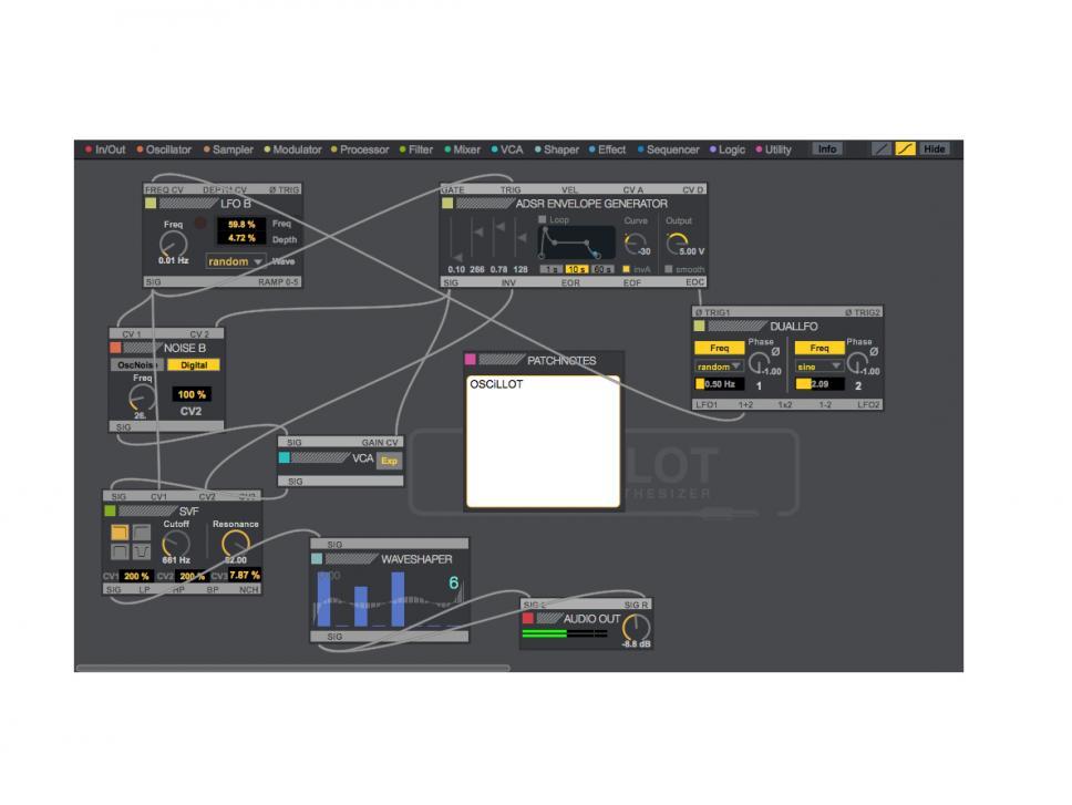 Im typisch funktionalen Ableton-Design bekommen Oscillot-Käufer ein virtuelles Modular-System, das vom Funktionsumfang kaum besser hätte sein können.