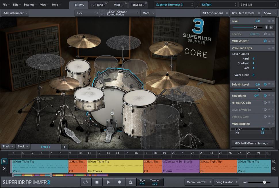 Komfortabel: Die neue Bedienoberfläche des Superior Drummer ist frei skalierbar und lässt das Abkoppeln von Fenstern zu.