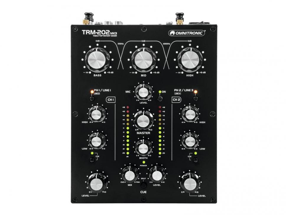 Der Omnitronic TRM-202MK3 ist ein kompakter und günstiger Rotary-Mixer.