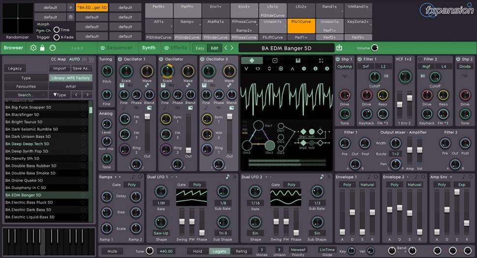 Modernes GUI, hervorragender Klang, Unterstützung für MIDI Polyphonic Expression und etliche Modulations-Möglichkeiten – was will man mehr?