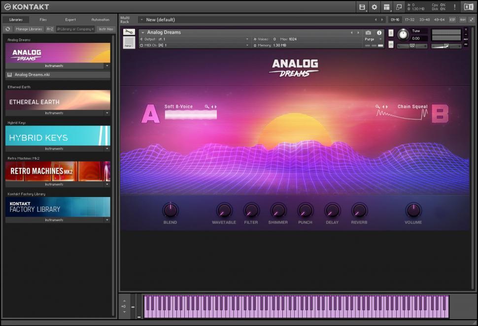 Eines der Highlights von Kontakt 6 ist das neue Instrument Analog Dreams mit Sounds legendärer analoger und digitaler Synthesizer der 70er bis 90er.