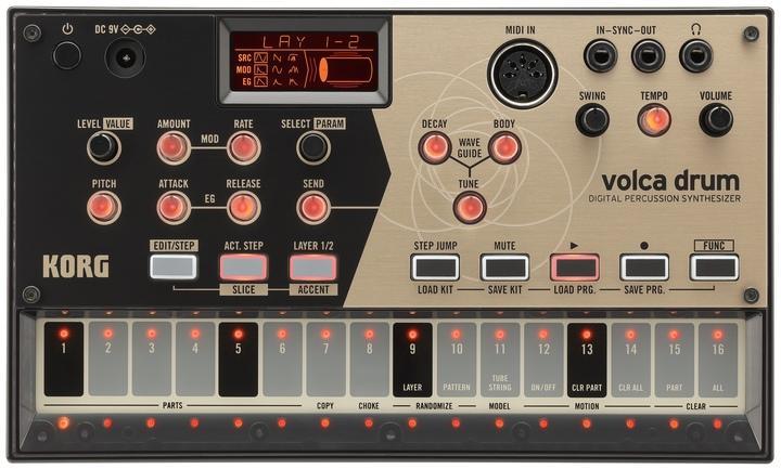 Das für Volca-Verhältnisse üppige Display unterstützt mit Grafiken die Einstellung der Sounds und visualisiert den gewählten Resonator-Effekt.