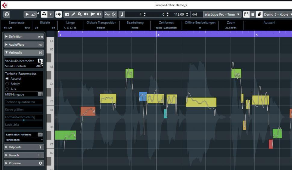 Schritt 2:VariAudio aktivieren