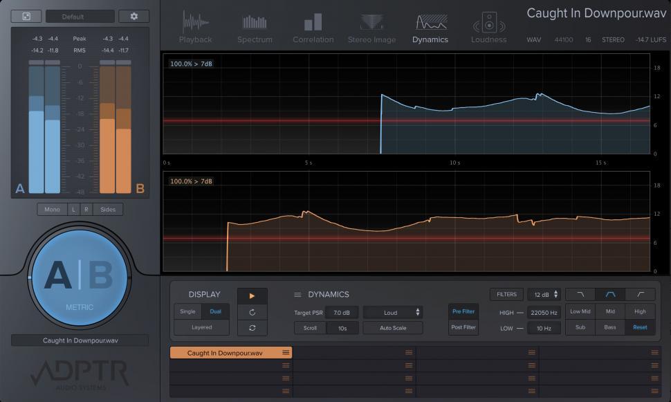 Die Anzeige des eigenen Mixes und des gewählten Referenz-Tracks können untereinander, aber auch übereinander gelegt angezeigt werden.