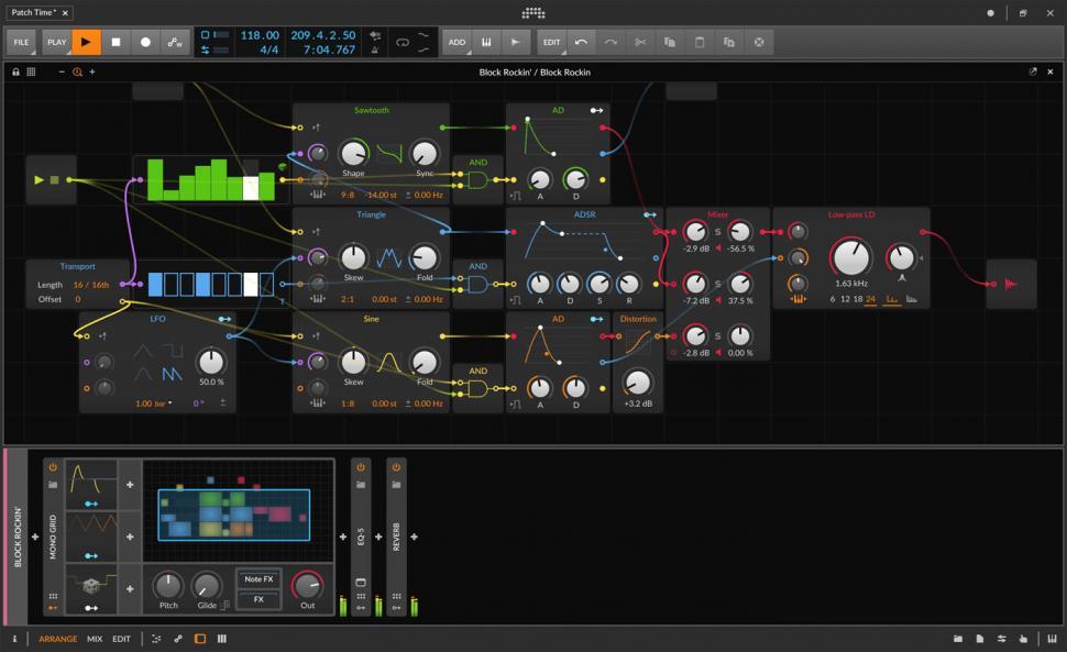 Im gewohnten Bitwig-Design präsentiert sich auch das neueste Highlight: The Grid.
